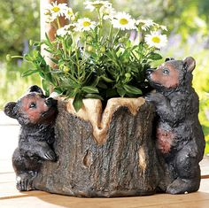 Bear Decor ~ Bear Cubs Tree Planter