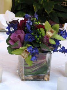 deep blue, purple and green flowers