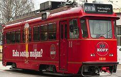 Pub tram. It drives around Helsinki during summermonths.