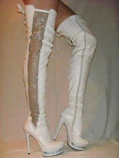 White thigh boots with sequined sides Thigh High Boots, High Heel Boots, Bootie Boots, Cute Boots, Sexy Boots, Sexy High Heels, Cream Shoes, Walking Boots, Long Boots