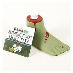 GAMAGO Zombie Foot Dog Toy will prep your pooch for the zombie apocalypse. This is a squishy vinyl dog chew toy that looks remarkably like the detached foot of a small zombie. Includes squeaker.
