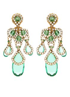 These rare Miriam Haskell chandelier earrings are composed rhinestone encrusted gilt metal and brilliant green pate de verre stones.  Please note: This item is final sale.