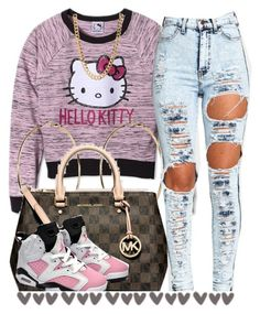 """."" by trillest-queen ❤ liked on Polyvore featuring Hello Kitty, MICHAEL Michael Kors and Retrò"