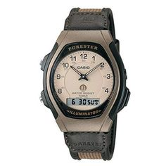Classic Forester analog digital watch with a tan dial and Arabic numerals accenting each hour and digital display at 6 O'clock with a leather and nylon strap and buckle closure. Swiss Watches For Men, High End Watches, Sport Watches, Cool Watches, Cheap Watches, Discount Watches, Thing 1, Brown Band, Seiko Watches