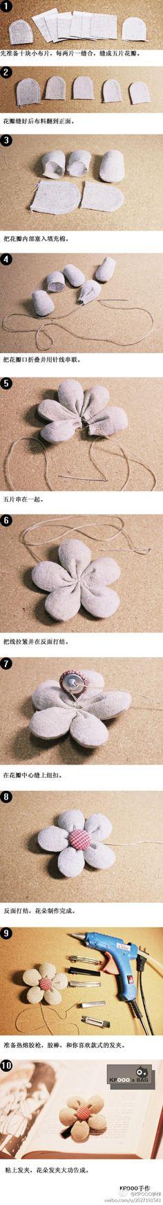 Tutorial con fotos paso a paso para hacer un broche de tela o fieltro forma flor