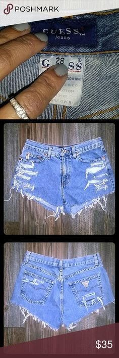 GUESS HIGH WAIST, DESTROYED JEAN SHORTS GUESS HIGH HIGH WAIST PREMIUM JEAN SHORTS, THESE ARE SO CUTE, ON TREND.. JUST IN TIME FOR SPRING AND SUMMER.. Guess Shorts Jean Shorts