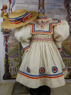 Marvelous French white pique mariners/sailors antique dolls dress with from stairwaytothepast on Ruby Lane