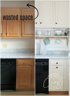 Learn how to raise kitchen cabinets to the ceiling and add a floating shelf underneath to maximize storage space in a small kitchen. diy kitchen decor Genius DIY: Raising Kitchen Cabinets and Adding an Open Shelf - The Crazy Craft Lady Diy Kitchen Remodel, Diy Kitchen Cabinets, Kitchen Soffit, Ikea Hack Kitchen, Kitchen Backsplash Diy, Restaining Kitchen Cabinets, Spray Paint Countertops, Butcher Block Countertops Kitchen, How To Make Kitchen Cabinets