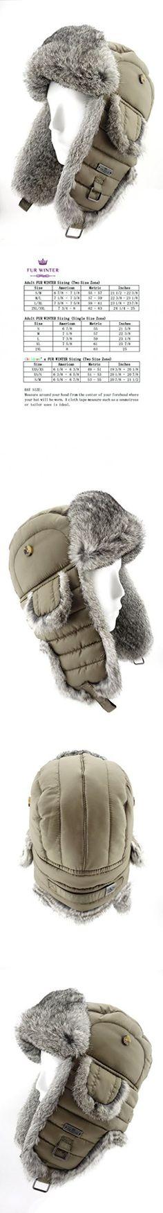FUR WINTER Taffeta Rabbit Fur Aviator Bomber Trapper Hat TPE L/XL