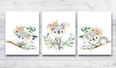 Kids Room Wall Art, Baby Wall Art, Nursery Wall Art, Owl Themed Nursery, Baby Boy Nursery Decor, Baby Room, Koala Nursery, Dragon Nursery, Australian Animals