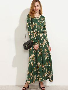 Green Blossom Print Buttoned Front Dress -SheIn(Sheinside)