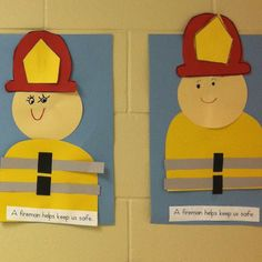 "A fun craftivity for October (National Fire Safety Month and Fire Prevention Week) or a community helper theme. Using this one for our October Have students write a caption or add the word ""firefighter"" to a prepared caption. Fireman Crafts, Firefighter Crafts, Fire Safety Crafts, Fire Safety Week, Community Helpers Crafts, Community Workers, Community Service, Community Art, Fire Prevention Week"