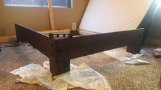 DIY Custom Rustic Bed Frame. Under $100 Budget. Easy build. DIY. Build it yourself. Do it yourself. Rustic Bedding, Bed Frame, Budget, Photo And Video, Building, Easy, Table, Furniture, Instagram