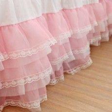 Pink Organza Ruffle Lace Bed Skirt