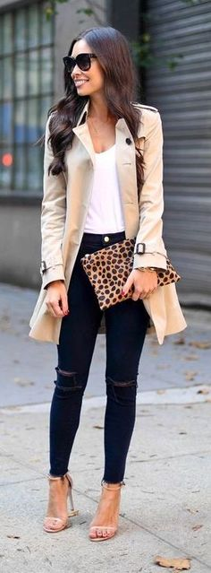 Throw a classic trench coat over your favorite basics for instant sophistication any day of the week! For a little flair, add some statement accessories - like a fun leopard clutch and over-sized sunglasses!