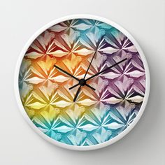 PYRAMID PATTERN Wall Clock by hardkitty - $30.00 Wall Patterns, Clock, Plates, Watch, Licence Plates, Dishes, Griddles, Clocks, Dish