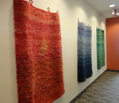 """3 pieces by Krystyna Sadej that where originally woven to hang outdoors from her """"Past and Present: Looking at the past through a new perspective"""" show at AOE Gallery. Photo by Joe Lewis"""