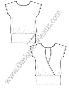 V14 Knit Tunic T-Shirt Template Free Flat Drawing - FREE vector flat sketch download + More flats at www.designersnexus.com!