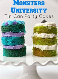 Monsters University Tin Can Party Cakes - Smashed Peas & Carrots Disney Inspired Food, Disney Food, Disney Diy, Jolly Rancher Lollipops, Disney Cakes, Disney Desserts, Disney Recipes, Monster University Party, Little Monster Party