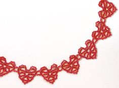 More Hearts Necklace Beading Pattern by Sandra D. Halpenny at Bead-Patterns.com