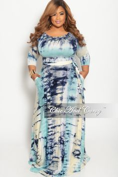 fa26af7a7b8 New Plus Size Long Dress with 3 4 Sleeve and Tie in Aqua Blue Tie Dye