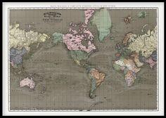 Affisch med fin gammal världskarta.