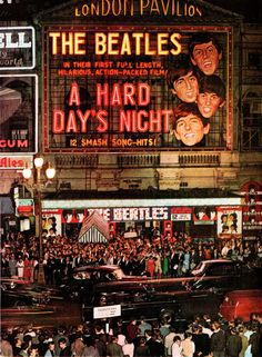 The Beatles first movie (1964) A Hard Day's Night.  The movie synopsis:  The Beatles--the world's most famous rock and roll band--travel from their home town of Liverpool to London to perform in a television broadcast. Along the way they must rescue Paul's unconventional grandfather from various misadventures and drummer Ringo goes missing just before the crucial concert.  People lined up by the hundreds at theatres to see this movie.