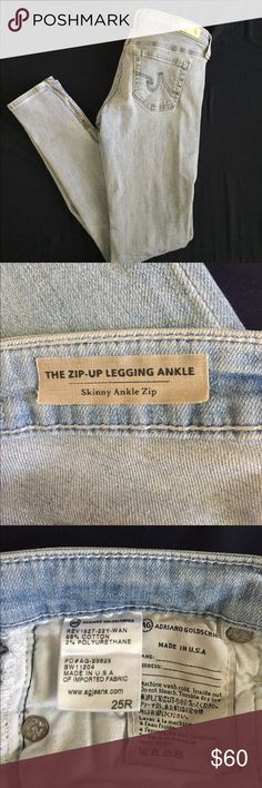 Zip Up Legging Ankle By Adriano Goldschmied Excellent condition. Comes from a smoke and pet free home. Selling only because I'm pregnant. Thanks for looking. AG Adriano Goldschmied Jeans Skinny