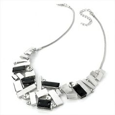 Avanni Black and Silver Hematite Effect Crystal Necklace - Just in £14.99