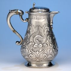 The Captain William McClintock-Bunbury Antique Irish Victorian Sterling Silver Covered Hot Beverage Pitcher by Robert W. Smith, Dublin,