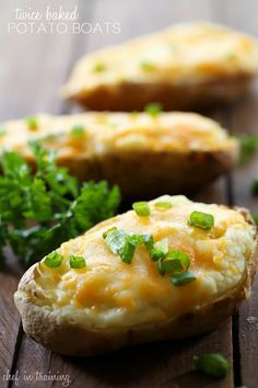Twice Baked Potato Boats @FoodBlogs