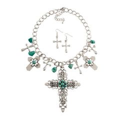 Faux Turquoise Silver Charm Necklace Set ❤ liked on Polyvore