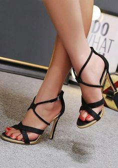 539e6b4f35995f Black Round Toe Stiletto Fashion High-Heeled Sandals  highheelshoes
