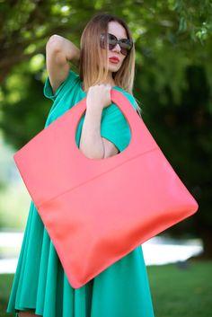 Trendy women bag/Leather Tote bag/Borsa di cuoio/Large leather bad/Orange Leather Bag/Tote Bag/Hand Made Leather Bag by EUG/ Big Bags, Large Bags, Clutch Bag, Tote Bag, Produce Bags, Carry All Bag, Leather Bags Handmade, Orange Leather, Purses