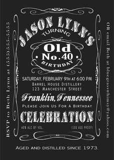 40th Birthday Jack Daniels Whiskey Label Invitation 5x7 by BluegrassWhimsy, $15.00