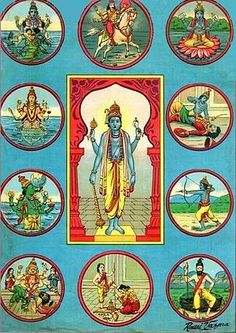 Dashavatara - refers to the ten avatars of Vishnu. The standard list is: Matsya, Kurma, Varaha, Narasimha, Vamana, Parashurama, Rama, Krishna, Balarama and Kalki