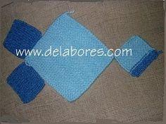 pantufla tejida 7 cuadrados