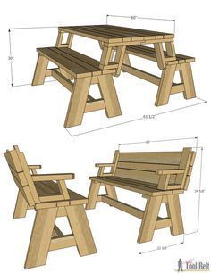 Not only is this picnic table great for outdoor eating, but it easily converts into two cute garden benches. The picnic table's top folds down to create the back of the bench, for a relaxing seat. diy Convertible Picnic Table and Bench - Her Tool Belt Woodworking Projects Diy, Diy Wood Projects, Home Projects, Woodworking Plans, Woodworking Furniture, Design Projects, Weekend Projects, Popular Woodworking, Outdoor Projects