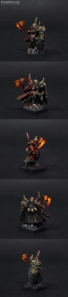 I really like this model. He's on a plastic Chaos Lord's base. I did photos on dark background as usual, but bellow you will find photos on white background. I prefer dark background, b…