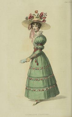 Carriage dress, 1828 UK, Ackermann's Repository