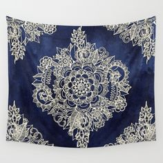 Cream Floral Moroccan Pattern on Deep Indigo Ink Wall Tapestryhttps://society6.com/product/cream-floral-moroccan-pattern-on-deep-indigo-ink_tapestry?curator=carlyflynn