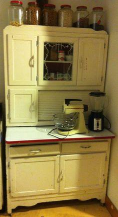 My Hoosier cabinet, it originally belonged to my Great Grandmother.
