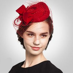 Fascinators bow pillbox hat with veil for women
