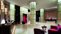 The Ritz-Carlton Shanghai, Pudong offers luxury hotel accommodations in the middle of the city's commercial, financial and upscale retail centre. Shanghai Hotels, Lobby Lounge, Lobby Design, Waiting Area, Hotel S, Commercial Interiors, Modern Luxury, Living Room Interior, Interior Design