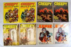 LOT OF 8 VINTAGE COMIC BOOKS ~ 8 CREEPY AND 2 EERIE ~ UNGRADED IN SLEEVES Up for auction is a lot of eight vintage comic books. These comics appear to... #ungraded #sleeves #eerie #creepy #comic #books #vintage