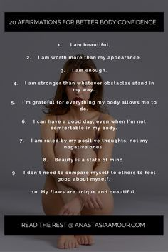 20 affirmations for better self esteem and body confidence