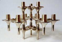 1960s Wilhelm Nagel Modernist Atomic Space Age Stacking Candlesticks