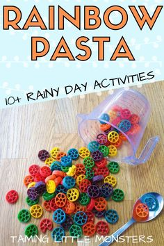 There are 10 rainy day kids activities that you can do with this incredible sensory bin filler. From arts and crafts to puzzles, and fine motor skills. Learn how to make your own rainbow pasta and your children will love you for it. Toddler Play, Toddler Preschool, Toddler Crafts, Preschool Crafts, Crafts For Kids, Preschool Puzzles, Sensory Bins, Sensory Activities, Toddler Activities