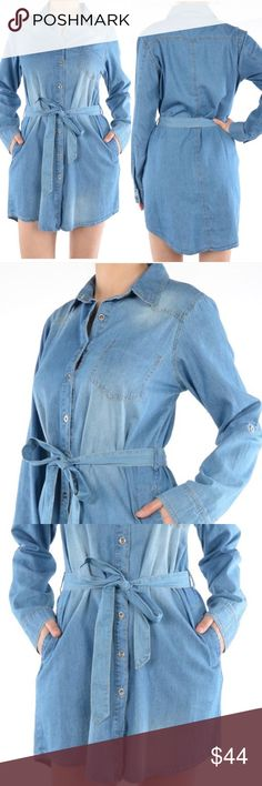 PREORDER Denim Shirt Dress Tunic PREORDER This popular Denim Shirt Dress with Belt arriving on Feb 2nd. Measurements coming when they arrive. Dresses