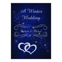 Elegant Blue Silver Winter Wedding Invitation
